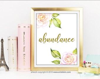 Abundance Printable: positive affirmation print, gold foil lettering, positive affirmation printable, positive energy art, manifesting art
