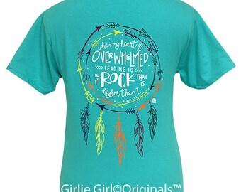 Girlie Girl Originals Psalm 61:2 Scuba Blue Short Sleeve T-Shirt