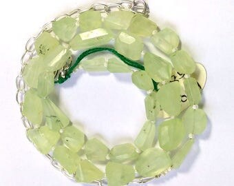 "AAA quality Prehnite Necklace  One Full 18"" Strand Necklace  Green Prehnite Nuggets Beaded Necklace With Adjustable Chain"