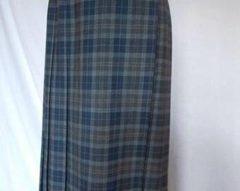 summer sale Vintage 90s St Michael Navy Blue Kilt Skirt Size large