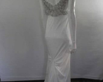 summer sale Vintage 90s Wedding dress - cream 40s art deco style heavily beaded v back  - size Medium to small