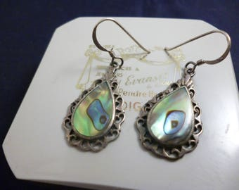 "Vintage shimmery abalone shell and silver earrings - 925 - sterling silver - 1.6"" - i"