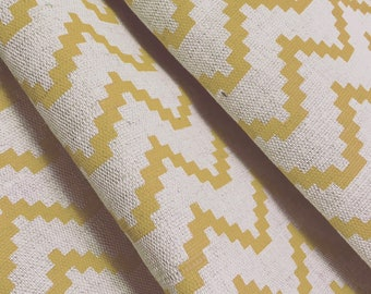 Yellow Curtains- Zig Zag Curtains- Scandinavian- Geometric- Made to Measure- Mustard Curtains- Lined Curtains- English Curtains- Hand Made