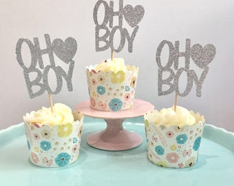 12ct Oh boy cupcake toppers, oh boy cupcake topper, heart oh boy cupcake toppers, glitter oh boy cupcake toppers