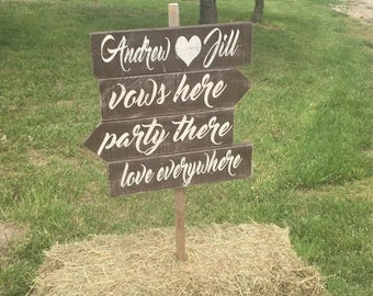 ON SALE Wedding directional sign - directional wedding signs - rustic wedding signs - wedding signage - vows here party there love everywher