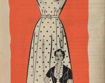 Mail order 4538 misses sundress with scalloped neckline and bolero jacket bust 36 vintage 1950's  Anne Adams sewing pattern  Factory folds