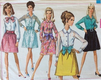 Simplicity 7722 misses dress size 10 bust 32 1/2 vintage 1960's sewing pattern
