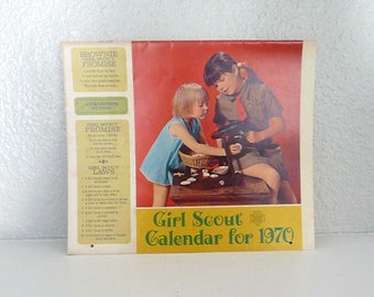 Vintage Girl Scout Calendar from 1970