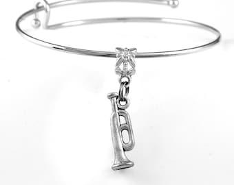 Trumpet Bracelet or trumpet charm bracelet Trumpet Jewelry Musical bracelet Musical charm bracelet