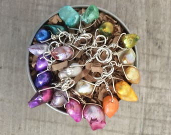 20 Marker Spectrum set of Mixed Colored BAROQUE Freshwater Pearl & Sterling Silver Stitch Markers for Knitting, 6,Knitting Notions,