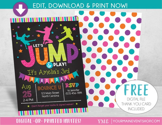 Jump Birthday Invitation, Trampoline Party Invite, Bounce House Birthday Invitations, Instant Download, Edit Yourself DIY Templett
