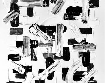 Large Abstract Black and White Art, Black and White Painting, Original Black and White Painting, Extra Large Black and White Art, 36x36x1.5