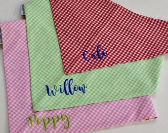 Green Personalized Gingham Bandana || Reversible Dog Bones Southern Classic Tie Pet Scarf || Puppy Gift by Three Spoiled Dogs