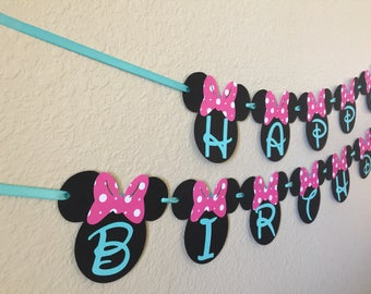 Minnie Mouse Birthday Banner, Minnie Mouse Party, Minnie Mouse Birthday, Minnie mouse teal and pink, Minnies Bowtique