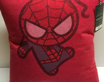 Spider guy Comic Book T-Shirt Pillow 16x16 Upcycled One of a Kind