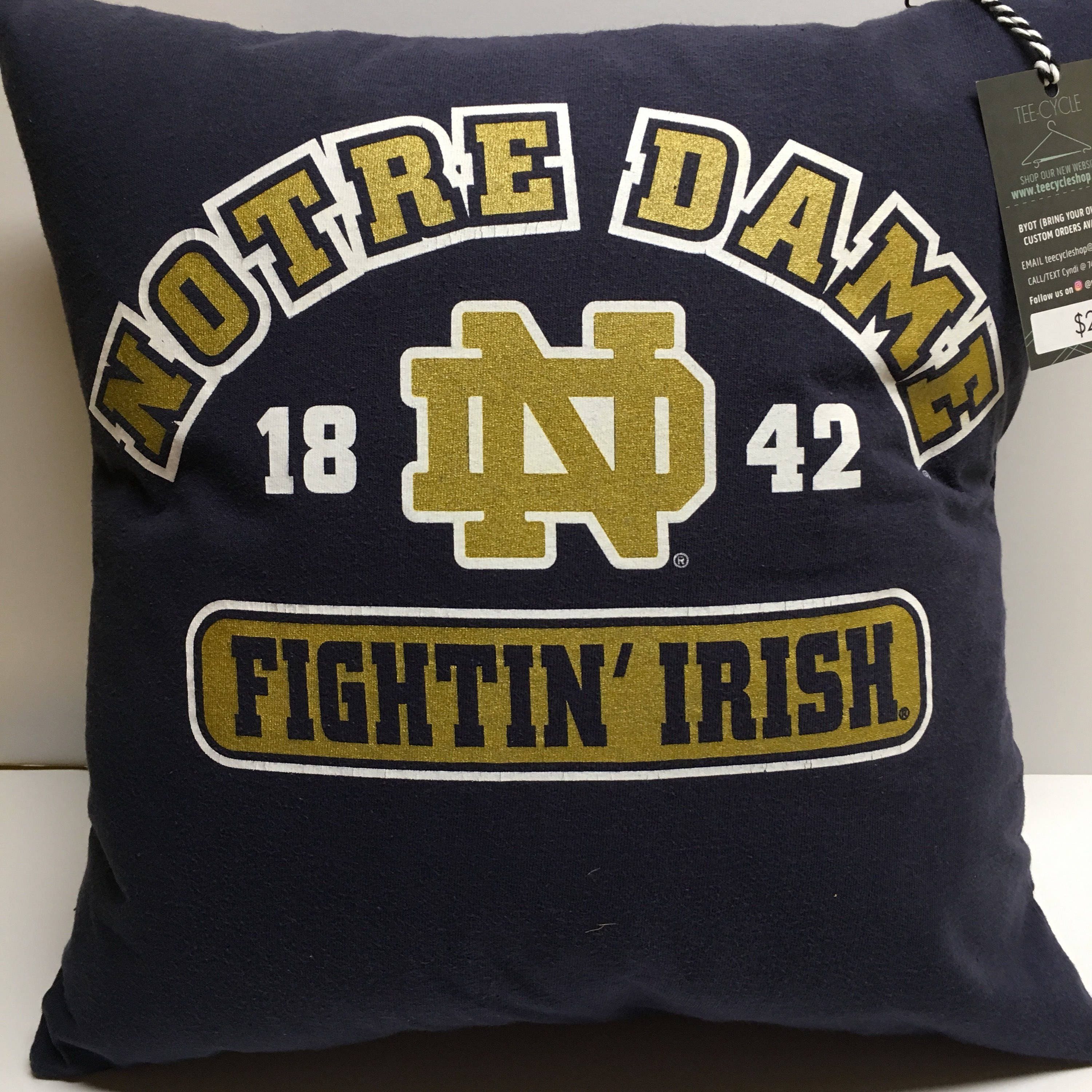 South Bend, Indiana University Football Tshirt Pillow 16x16 Upcycled One Of  A Kind