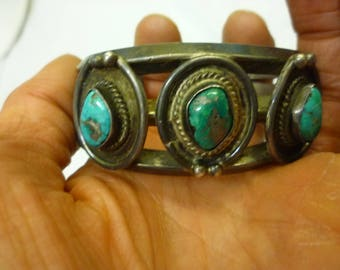 J43 Vintage Sterling Silver with Faux Turquoise Bangle.