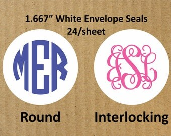 "Monogram Round White Envelope Seals, 24 Seals, 1.667"" Round White Seals, Envelope Seals, Monogram Envelope Seals, Monogram"