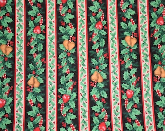 Christmas Quilting Fabric, 1994 Fabric Traditions Christmas Fabric, Vintage Christmas Fabric, Christmas Fabric, Holly Fabric, Holiday Fabric