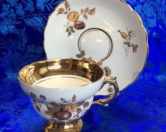 Vintage Rosina Heavy Gold Bone China Tea Cup and Saucer England