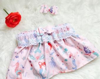Mermaid skirt & Bows set, Mermaid Skirt, Mermaid bows, mermaid party, Mermaid Clothing, Mermaid Birthday girl, Mermaid gift, Baby Shower.