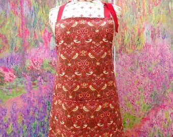 William Morris Strawberry Thief Apron with pocket and  adjustable neck strap. With or without hand embroidered name