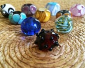 10pcs Lampwork Focal Beads Mixed Lot Big Round Handmade Glass Beads Multi Color Flame Work Beads Colorful Glass Beads