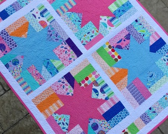 "Handmade modern baby girl toddler star quilt blanket 39"" x 48""  pink and blue stars  play mat, fence rail star"