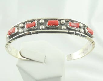 Cecil Henry Southwest Native American Navajo Artisan Vintage Sterling Silver and Coral Cuff Bracelet FREE Shipping #CECIL-CF9
