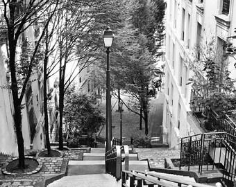 Paris Print, Black and White, Wall Art Print, Paris Photography, Montmartre Steps Stairs, Paris Bedroom Décor, Living Room Art France Photo
