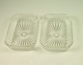 2  rectangular ramekins  DURALEX  transparent glass| Made in France | French Kitchen