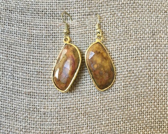 Brown Stone Drop Earrings