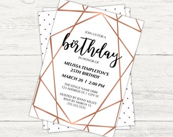 Copper geometric birthday party invitation