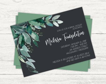 Green foliage and floral bridal or baby shower invitation