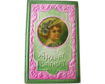 Vintage Happy Birthday Postcard With Celluloid Insert - Embossed Post Card - Victorian Postcard - Vintage Ephemera - Vintage Birthday Card