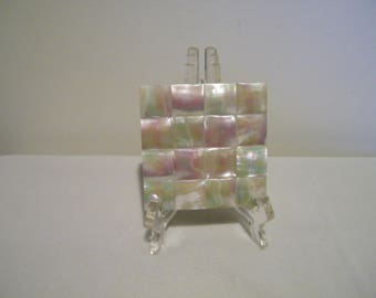 Vintage Volupte Mother of Pearl Square Powder Compact Goldtone