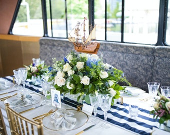 Nautical Navy And White Stripe Table Runners