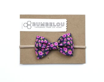 Classic Fabric Bow - Tiny Violets - One Size Headband or Clip for Baby and Toddler