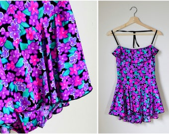 vtg 80s purple & pink floral print swim dress | large swimsuit | One Piece Bathing Suit | Resort Wear | Beachwear |  vintage 80s Swimwear