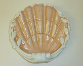 Vintage Porcelain Sea Shell Dish Vista Alegre Portugal Ceramic Bowl White Coral Mottahedeh Home Beach Decor Mid Century Serving Dish