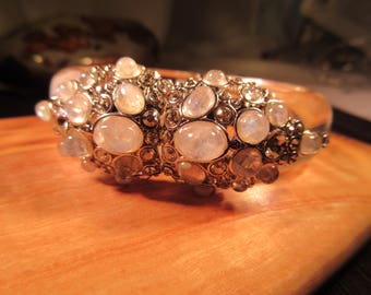 Lucite Mother of Pearl CZ Magnet Close Bracelet