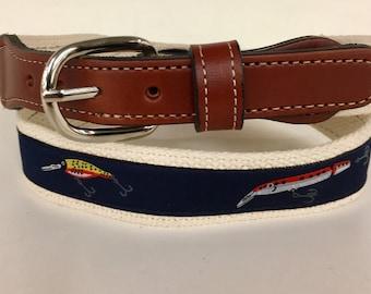 Fishing Lure Belt-  Web Leather Belt