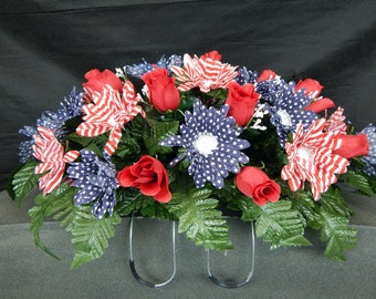 Beautiful Red Roses With Stars & Stripes Gerbera Dasies  Deluxe Headstone/Tombstone Saddle/Grave Pillow.