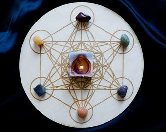 Crystal Board Sacred Geometry Wooden Metatron's Cube Grid