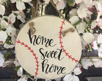 Baseball home decor-Baseball decor for door-door hanging-home sweet home