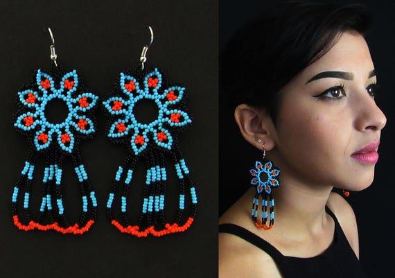 Blue Peyote Huichol Earrings, Tribal Fashion Jewelry, Native American Earrings, Beaded Dangle Earrings, Blue Seed Bead Earrings
