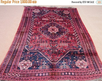 SUMMER SALE 25% OFF Size:8 ft by 5.7 ft Handmade Rug Vintage Shirazi Area Carpet