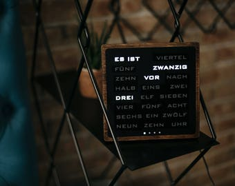 Word clock -  German Wordclock, Deutsch Uhr, led clock, wood electronic clock,  hölzerne Uhr