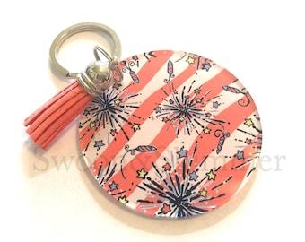 Coral Fireworks Acrylic Blanks, 2.5 Inch Circles 1 Hole, tassel Keychain blanks, blank acrylics, circle keychains, monogram keychain, white