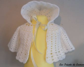 "Coat / coat ""Vintage"" handmade crochet christening baby vest ideal colors"